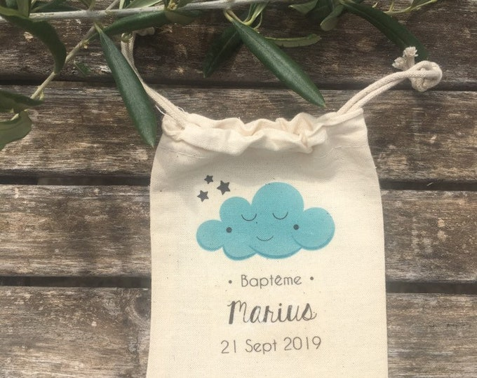 Bags with sweets or cotton personalized gifts for wedding or baptism in the first names, date of your choice! Wedding guest gifts