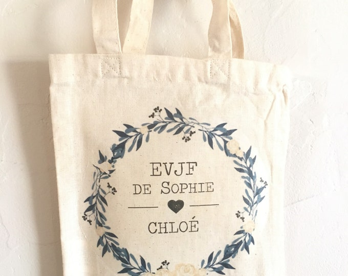 Personalized cotton bag for bachelorette party with the first name, date of your choice!   handmade wedding wedding EVJF
