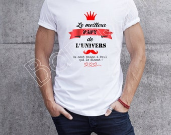 """Custom T-shirt """"I'm the Best Grandpa in the Universe, It's (first name) that says it """"original male gift for Dad, Tonton ..."""