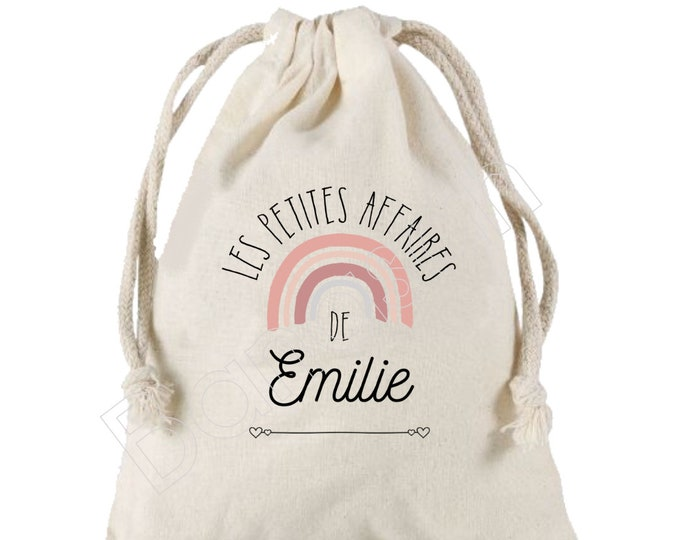 Large pocket with sliding links personalized to the first name of your choice 100% cotton 25X30 cm