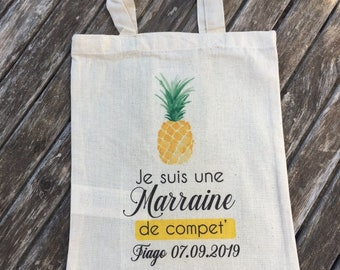 Custom cotton bag for Godmother by name, date of your choice!