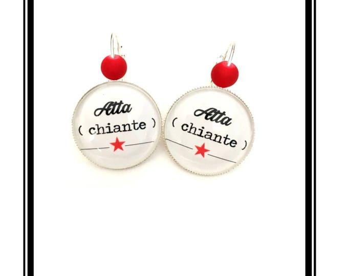 """Earrings original & unique """"Atta (boring)"""" personalized, derision, heart, bow, white, black, red, Star, humor"""