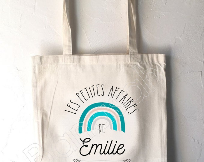 """Tote Custom Child Bag """" First Name """", unbleached cotton canvas bag, customizable gift, practical, cute, animals, rainbow"""