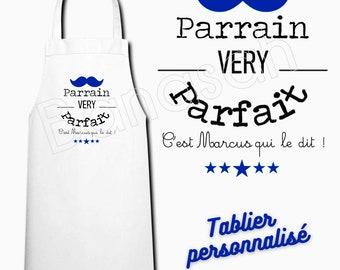 White customizable kitchen apron, Male gift idea, masculine, Godfather, Dad, Tonton, Grandpa, Grandfather, Master, Colleague ...