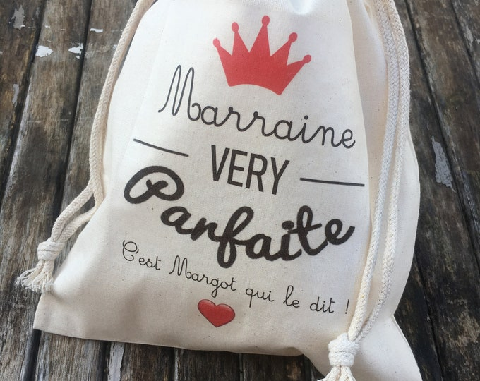 Great Gift bag for Godmother (Very perfect) with a custom cotton sliding link to the first name of your choice!  Baptism Godfather