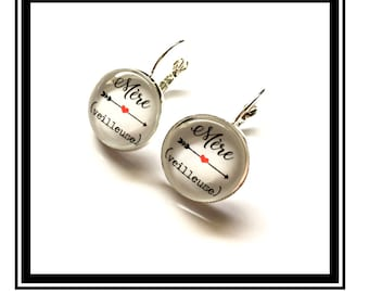 """Earrings original and funny,""""mother (night)"""" personalized, arrow, heart, red, funny, MOM """""""