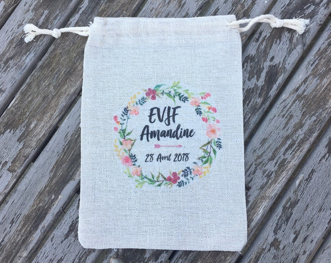 Custom cotton sliding link pouch for EVJF with first name, date of your choice!   handmade wedding bridal EVJF witness evening