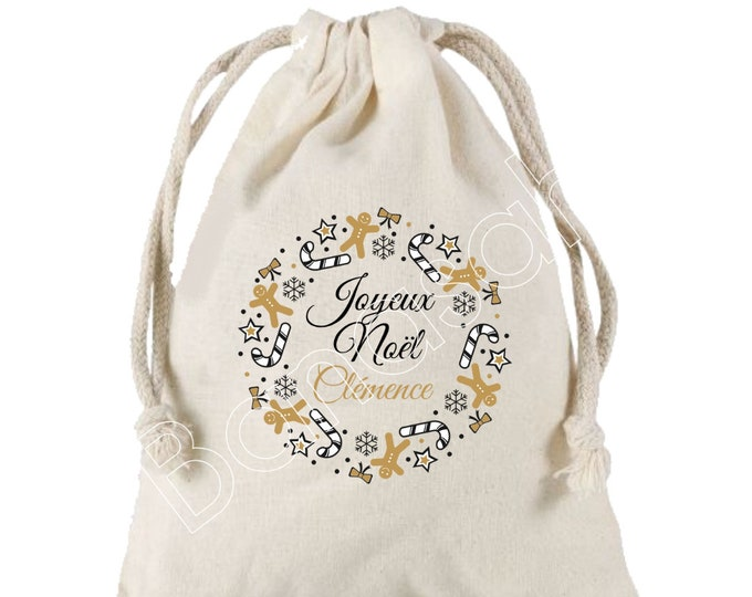 """Personalized gift bag """"Merry Christmas + First Name"""", Sun 25x30 cm in cotton! Ideal for responsibly wrapping gifts"""
