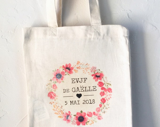 Cotton bag for bachelor party girl in the first name, date of your choice!   handmade wedding bachelorette party wedding