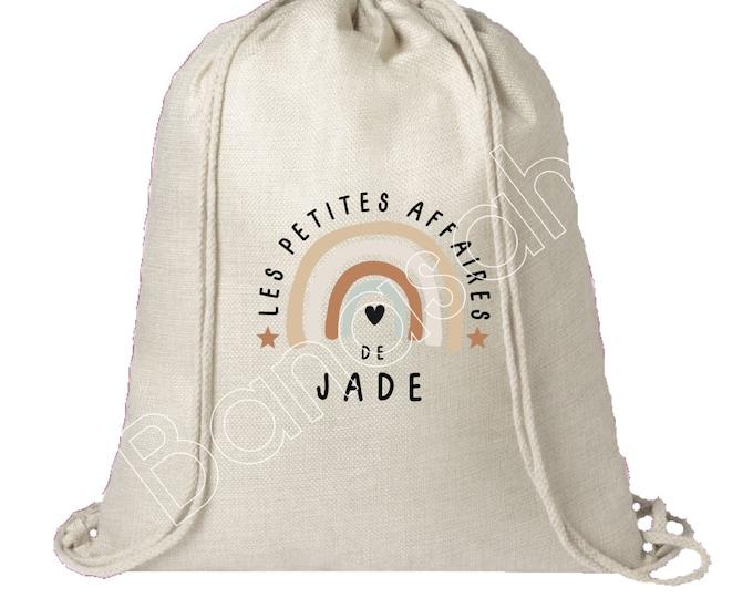 """Personalized cotton backpack """"Les Petites Affaires de..."""" school, canvas bag, tote, doudou bag, bag for children's clothes, creche"""