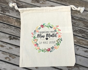 Large pouch with DrawString cotton custom bachelorette party name, date of your choice!  wedding witness gift bachelorette party