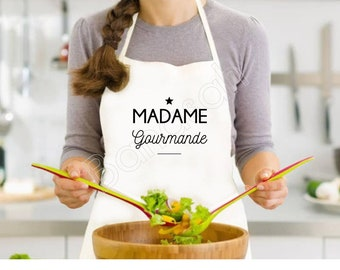 """White """"Madame Gourmande"""" kitchen apron, adult size, idea as an original gift for mom, granny, godmother, sister, colleague, etc."""
