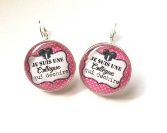 """Original Earrings - Unique """" I'm a colleague who tears"""" Personalized, derision, blue, pink, polka dots, knot, humor"""
