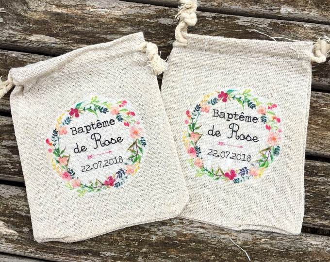 Let's go with custom cotton or cotton gifts for Baptism with first names, date of your choice! wedding gifts invited witness evening