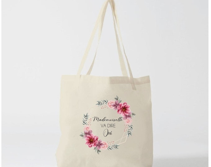 """Cotton Tote Bag """"Miss will say Yes!""""  Wedding gift EVJF Temoin Bridesmaid custom bride and groom team"""