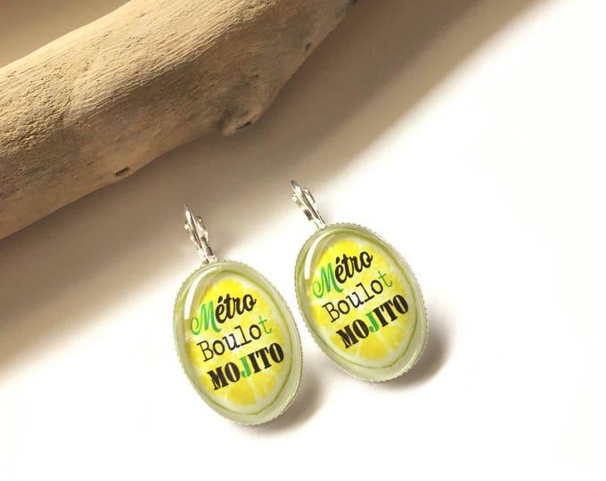 "Earrings original & unique ""Metro job Mojito"" personalized, derision, heart, bow, green, black, Crown, lemon humor"