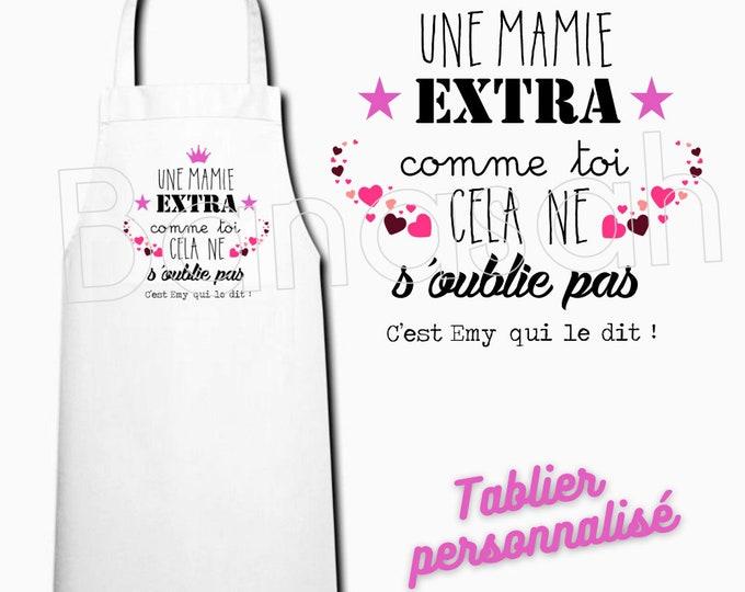 White customizable kitchen apron, Gift idea mom, granny, godmother, auntie, grandmother, mistress, nanny, auntie, colleague, atsem...