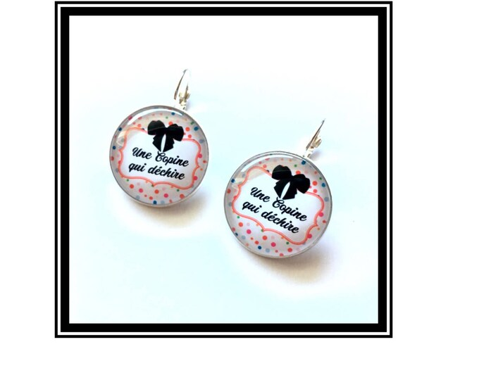 "Earrings original & unique ""One friend who rocks"" personalized, derision, humour, heart, bow, grey, Garnet, pink"
