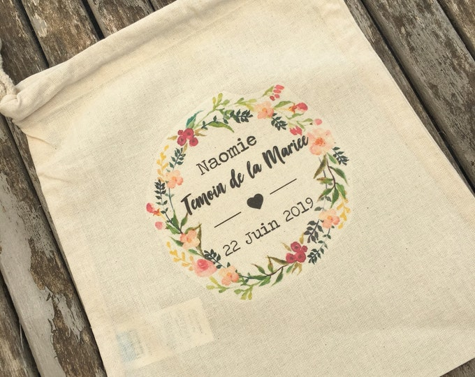 Large pouch with DrawString cotton gift witness in the first name, custom date of your choice!  wedding witness gift bachelorette party