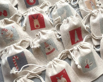 Eternal Advent Calendar, 24 pooches, made of raw-looking cotton fabric! Traditional - magical countdown
