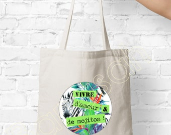"""Tote bag """"Living Of Love - Mojito"""" shopping bag, Ideal as a practical gift and original Mother, Mom"""