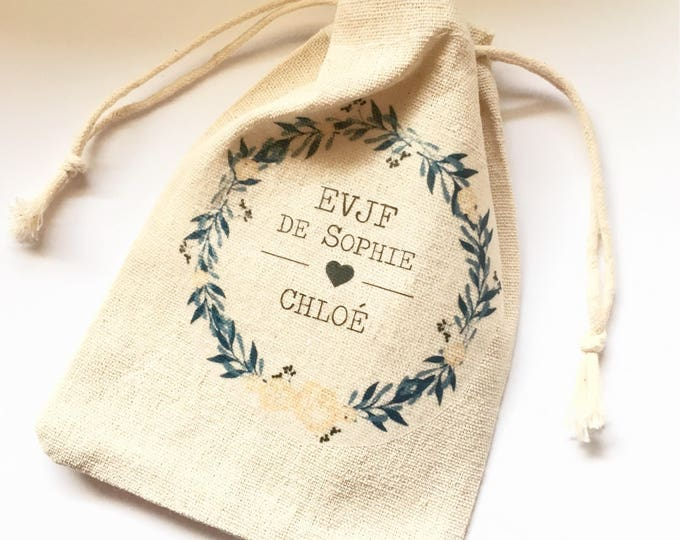Personalized cotton pouch for bachelorette party with first name, date of your choice!   handmade wedding wedding bachelorette party