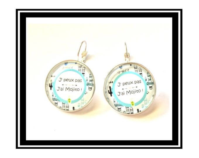 """Earrings """"I can't, I have a Mojito"""" cactus, funny, tropical, tropical, cocktail"""