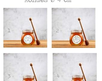 Personalized self-adhesive labels Rounds 4cm, baptism label, wedding label, baptism, communion, jar jam label, honey