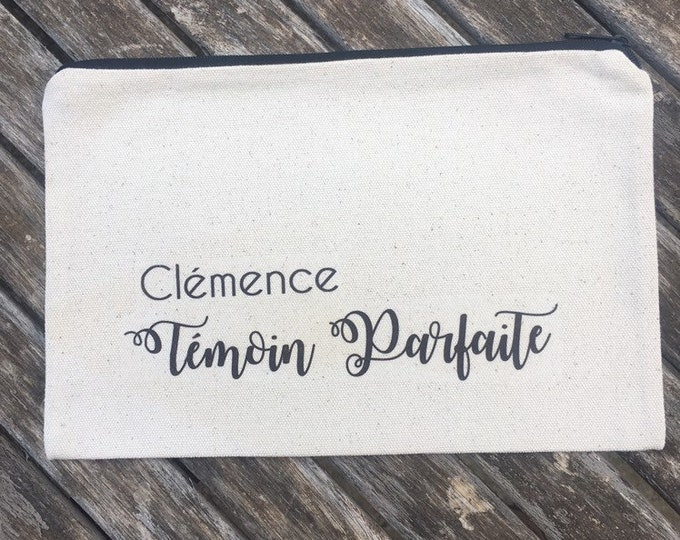 Personalized cotton zip black pouch for a first name gift, date of your choice!   handmade wedding marriage EVJF witness
