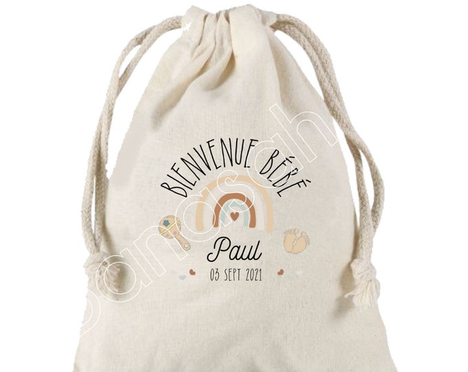 Birth gift, maternity, personalized to the baby's first name and date of birth, Large Pouch with sliding links, 25x30 cm