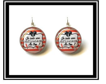 """Earrings """"I'm a nurse at the top!""""  Health, nursing, personalized help, thank you gift"""