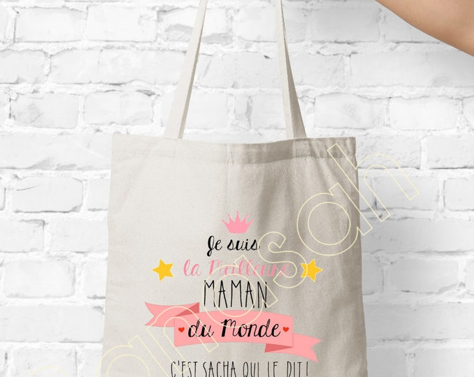 """Tote custom bag """"I am the Best Mom of the World"""" shopping bag, Available for Granny, Godmother, Tata, Nanny, Mistress ..."""