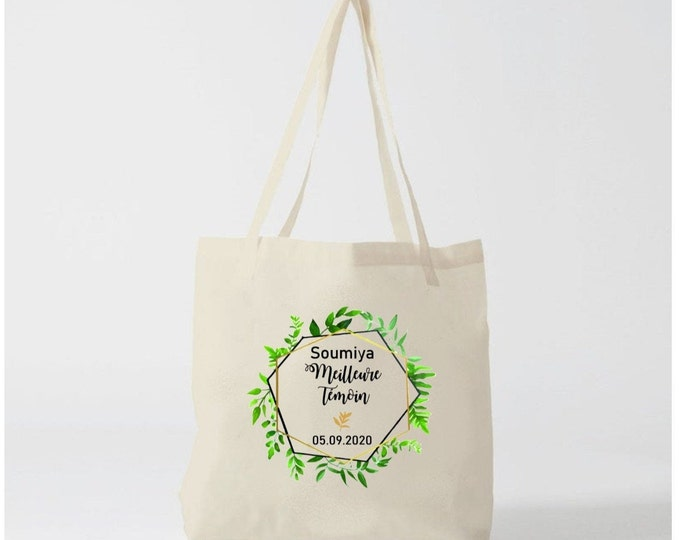 Tote Bag custom cotton Witness gift, bridesmaid with first name, date of your choice! marriage EVJF Bride