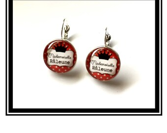 """Earrings original and funny,""""Miss complainer""""bow, roiuge, black, polka dots, polka dots, funny, MOM"""