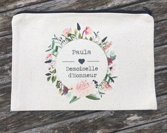 Personalised cotton zippered pouch for bridesmaid gift with first name, date of your choice!  temoin wedding