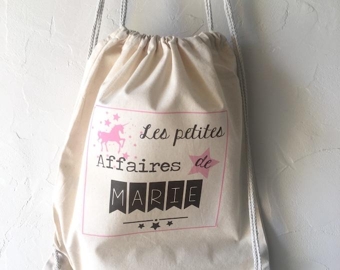 "Personalized cotton backpack ""Les Petites Affaires de..."" 100% cotton with sliding links! Quick Shipping Star Crown Kids"