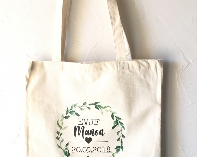 Tote Bag custom cotton for bachelorette party with first name, date of your choice! Bachelorette wedding mariage EVJF