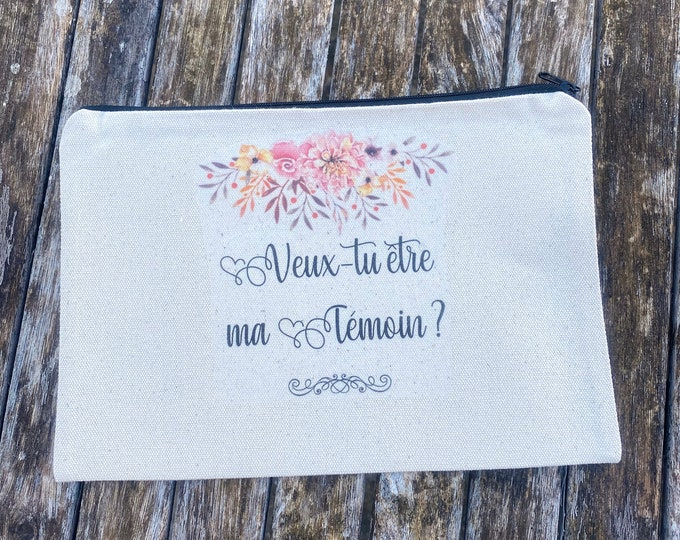 """Zipped pouch """"Do you want to be my Witness?"""" in ecru cotton! Ideal as a gift from the bride and groom, country wedding witness"""
