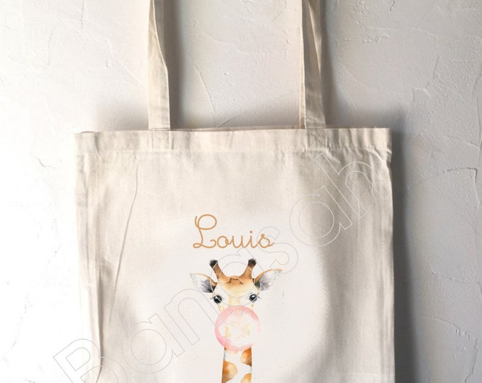 """Tote Bag for Children """"First Name"""" to customize, canvas bag in ecru cotton, canvas, customizable gift, practical, cute, animals"""