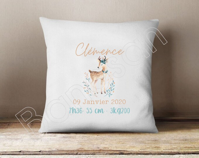 Birth cushion cover to customize, perfect gift to decorate a baby's room!