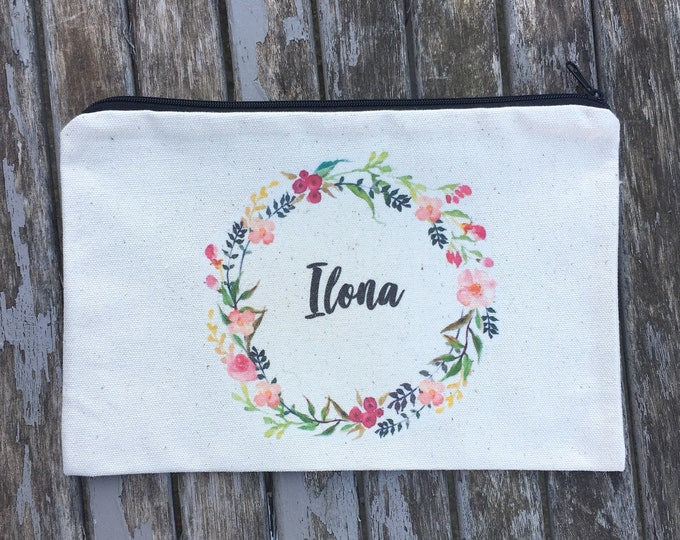 Personalized zipped pouch with the first name of your choice! Cotton ecrue pouch, quick send, ideal as a gift