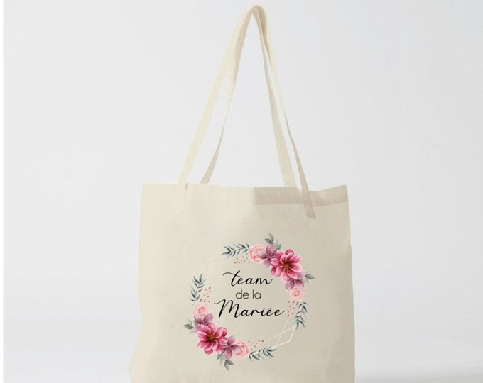 Bride's Cotton Team Tote Bag for Bachelor's Funeral! Wedding gift EVJF Temoin Personalised Bridesmaid