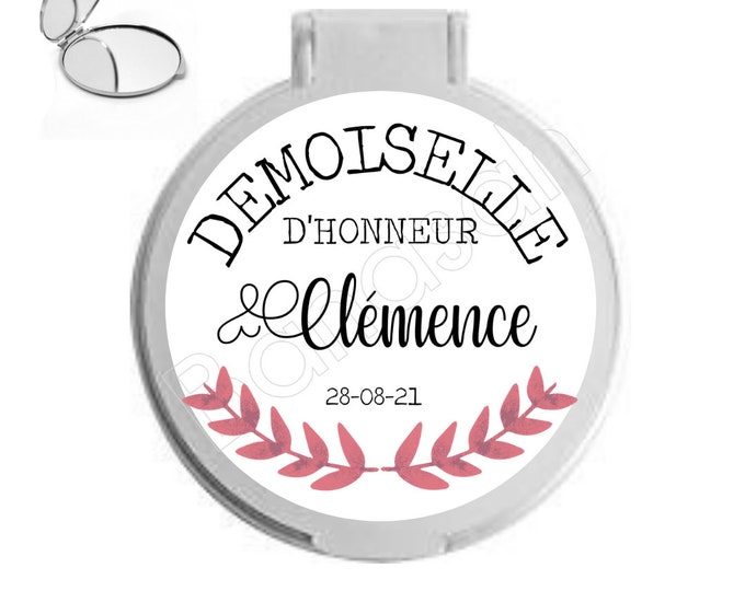 Personalised pocket mirror for bridesmaid, witness ...