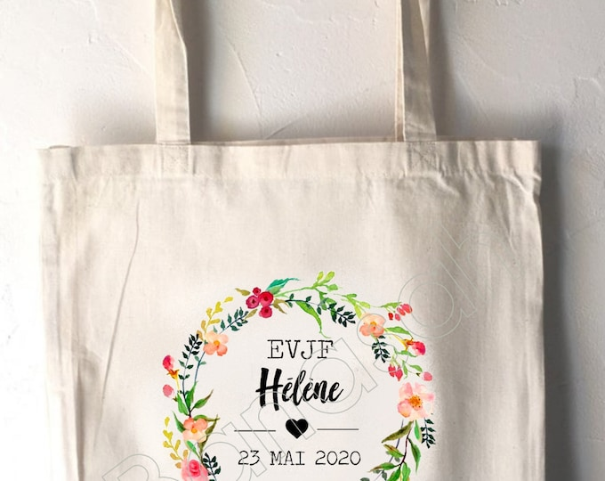 Personalised cotton tote bag for bachelorette party with first name, date of your choice!   handmade wedding wedding EVJF