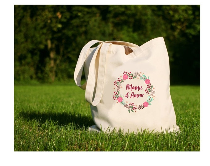 "Tote bag ""Love Granny"", tote bag, cotton canvas bag, color, canvas, gift, Possible for Grandma, Nanny, Mistress ..."
