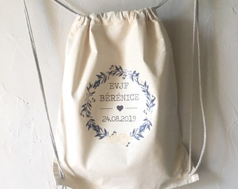 Personalised BACKPACK in EVJF, 100% cotton bachelorette party with sliding ties! Fast wedding sending bride tea