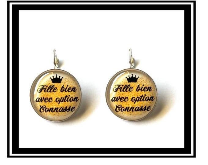 "Earrings ""Girl with optional bitch"" humor, fun, funny, gold, Crown"