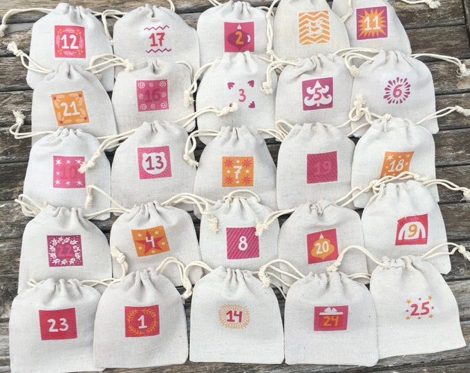 Advent calendar eternal, fabric, cotton raw aspect 24 bags! Traditional & magical countdown, christmas countdown