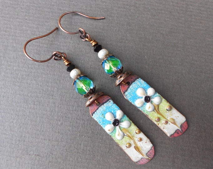 Boho earrings,Summer earrings,Flower earrings,Floral earrings,Enamel earrings,Copper earrings,OOAK earrings,Artisan earrings,Glas earrings