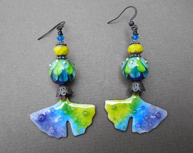 Ginkgo earrings,Leaf earrings,Multicolour earrings,Lampwork earrings,Enamelled copper earrings,Enamel earrings,OOAK earrings,Glass earrings